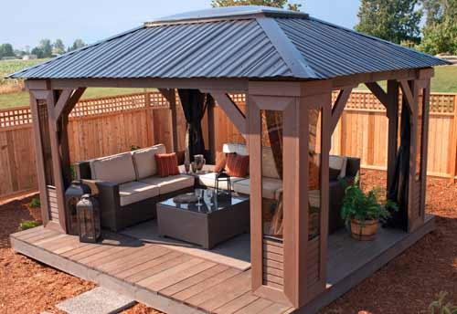 Open air hot tub gazebo by visscher mt crystal 11 39 x14 39 for Cal spa gazebo