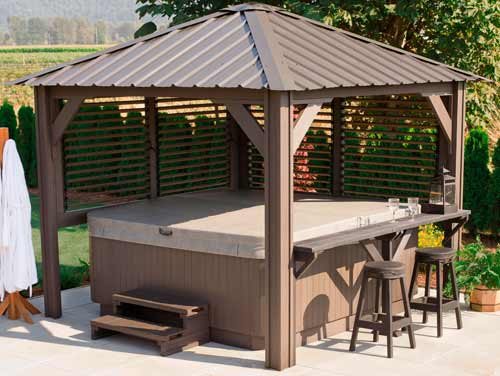 Semi enclosed hot tub gazebo by visscher sienna 9 39 x9 39 for Cal spa gazebo