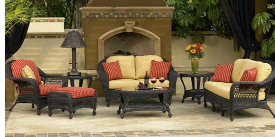 North Cape Charleston Black Wicker Patio Set