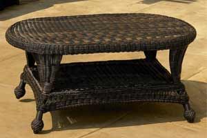 North Cape Charleston Dark Brown Wicker Table