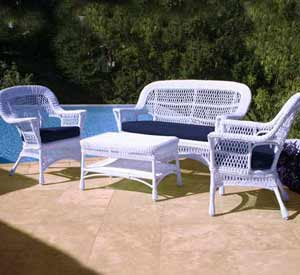 North Cape Mackinac White Wicker Patio Set