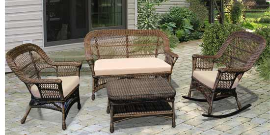North Cape Mackinac Natural Wicker Patio Set