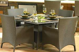 North Cape Malibu Wicker & Glass Dining Table