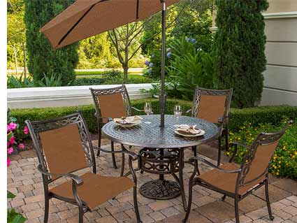 Agio Ashmost Patio Dining Set & Patio Umbrella