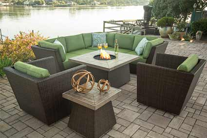Agio Newport Beach Patio Sofa, Chairs & Fire Pit
