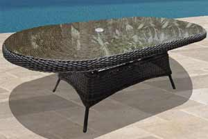 North Cape Berkshire Wicker & Glass Table