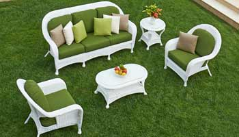 North Cape Wyndham White Wicker Patio Set