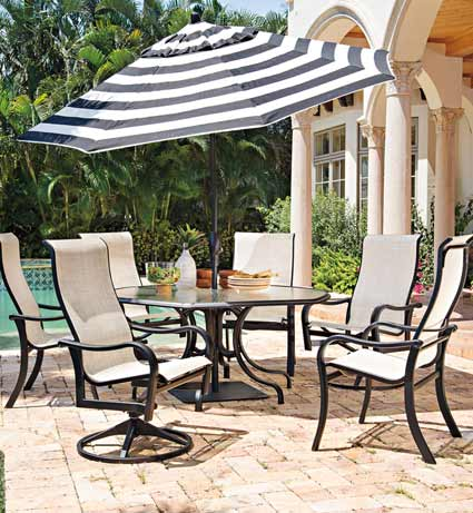 Telescope Ocala Patio Glass & Sling Dining Set