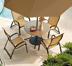 Telescope Primera Sling Patio Dining Set & Patio Umbrella