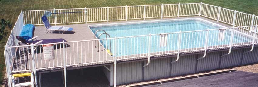 Buster Crabbe Admirals Walk Above Ground Pool with Deck